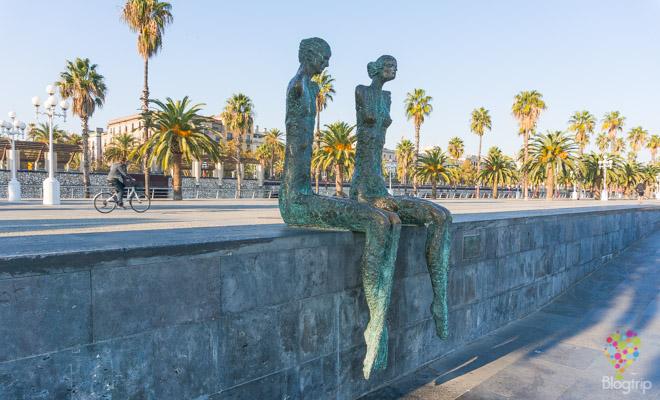 La parella de Lautaro Diaz, port Vell en Barcelona