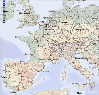 Mapa de líneas férreas para viajar por Europa en tren