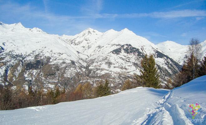 Paisaje de invierno en los Alpes franceses