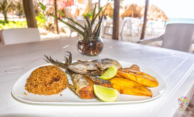Pescado frito y arroz con coco en Barú Colombia