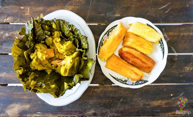 Tamal con molidos de maiz, cocina colombiana