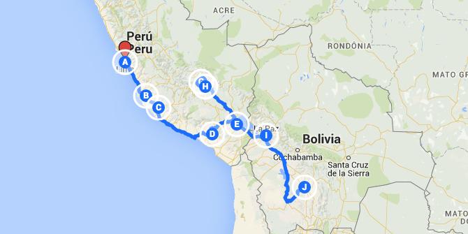 Viaje por Perú y Bolivia: trayecto y croquis del itinerario