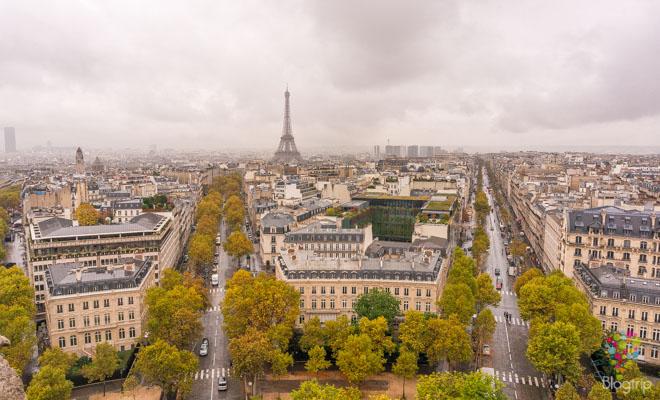 Visitar París con Instagram, torre Eiffel desde el arco del triunfo