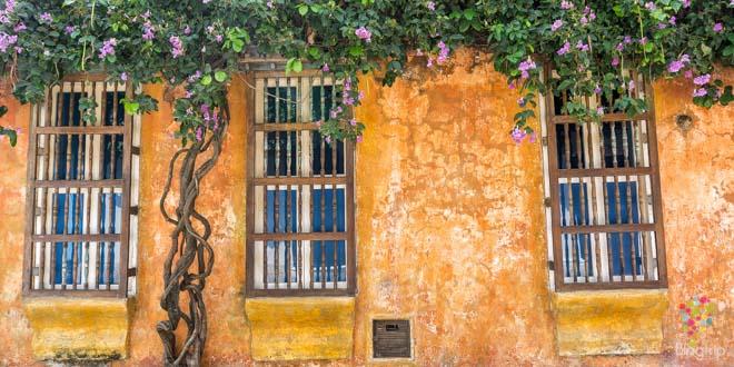 Casas coloniales y coloridas en Cartagena de Indias Colombia