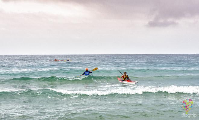 kayak, playa y mar en Ajaccio Córcega