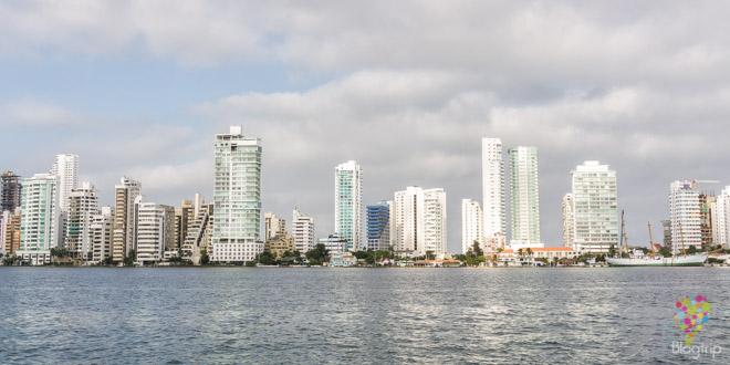 Panorámica del barrio moderno de Boca Grande en Cartagena