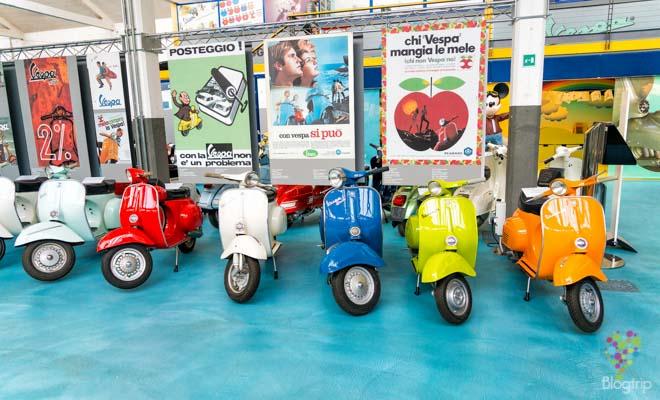 Museo de Piaggio, colección de motos Vespa en pontedera La Valdera