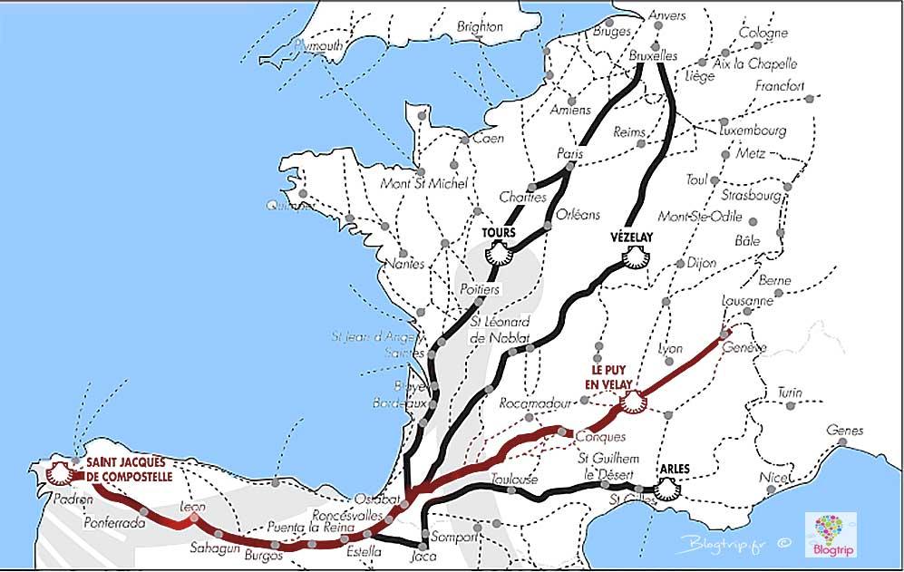 Mapa de etapas del camino de Santiago francés desde Puy en Velay Francia